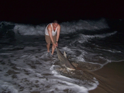 Herbert Hans Muller Releasing a shark in 2009