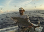 Staven with a small Amber Jack on Vertical Jig