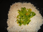 Added vegies to finely chopped smoked fish