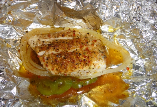 KISS Fish in aluminum foil after baking