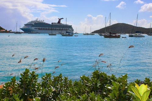 Carnival Freedom in St Thomas and sailboats