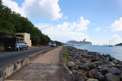 Carnival Freedom in St Thomas and Trucks