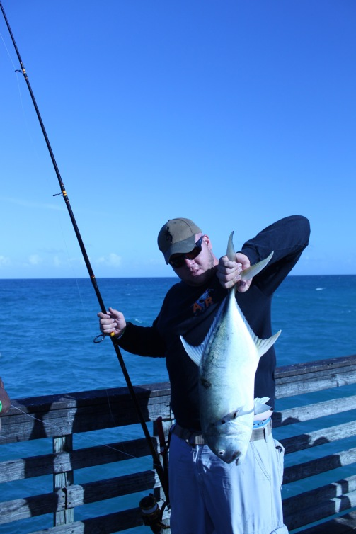 Dania Pier Angler with Jack Crevalle